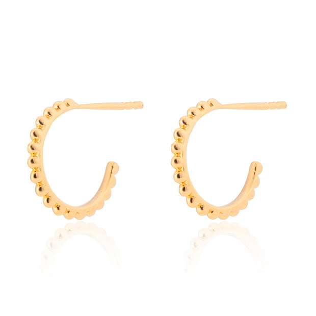 18ct Gold Vermeil Beaded Mini Hoops