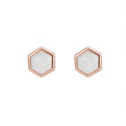Rosina 18ct Rose Gold Vermeil Hexagon Gemstone Stud Earrings - Rainbow moonstone
