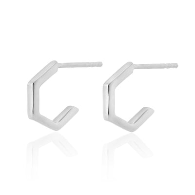 Sterling Silver Hexagonal Mini Hoops