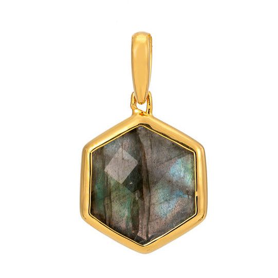 Rosina 18ct Gold Vermeil Hexagon Gemstone Pendant – Labradorite