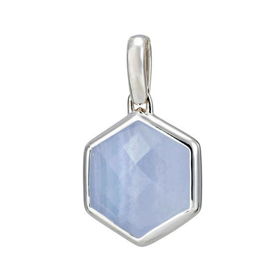 Rosina Sterling Silver Hexagon Gemstone Pendant - Blue Lace Agate