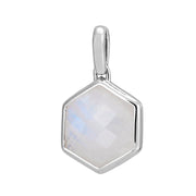 Rosina Sterling Silver Hexagon Gemstone Pendant – Rainbow Moonstone
