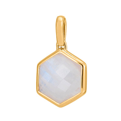 Rosina 18ct Gold Vermeil Hexagon Gemstone Pendant – Rainbow Moonstone