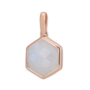 Rosina 18ct Rose Gold Vermeil Hexagon Gemstone Pendant – Rainbow Moonstone