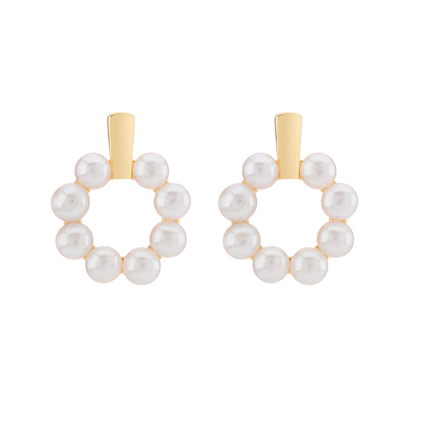 18ct Gold Vermeil Pearl Halo Earrings