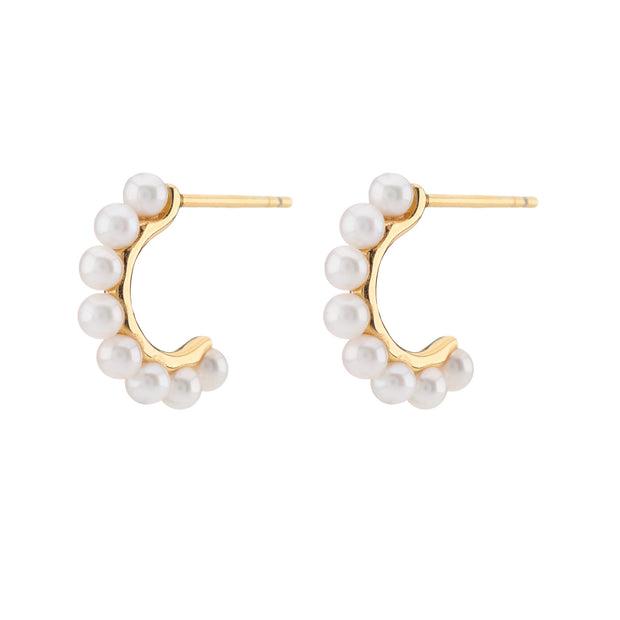 18ct Gold Vermeil Pearl Mini Hoops