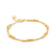 18ct Gold Vermeil Double Strand Beaded Bracelet