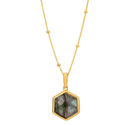 Rosina 18ct Gold Vermeil Hexagon Gemstone Necklace with Beaded Chain - Labradorite