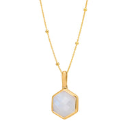 Rosina 18ct Gold Vermeil Hexagon Gemstone Necklace with Beaded Chain – Rainbow Moonstone