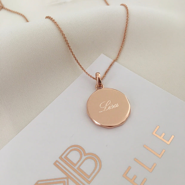 Rhea 18ct Rose Gold Vermeil Faceted Edge Pendant
