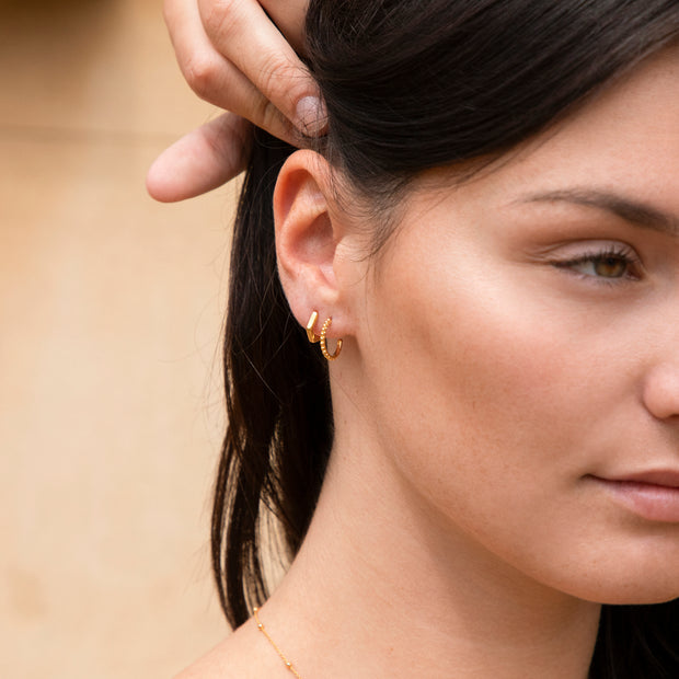 18ct Gold Vermeil Hexagonal Mini Hoops