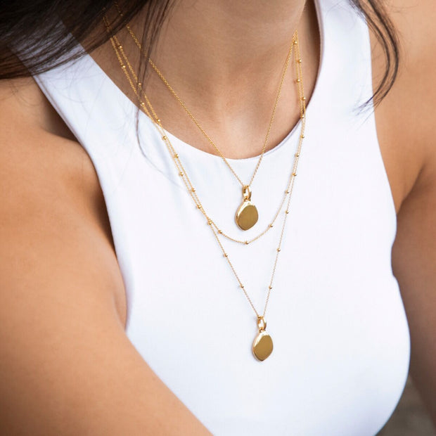 Lena 18ct Gold Vermeil Pebble Necklace with Beaded Chain