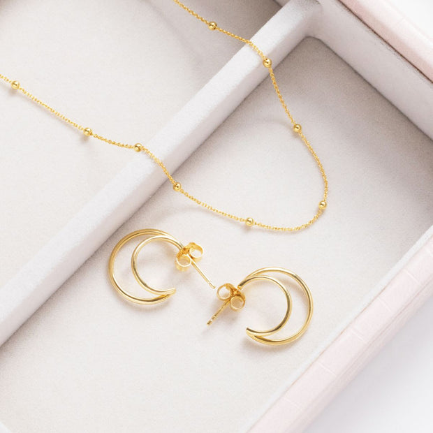 18ct Gold Vermeil Double Hoops
