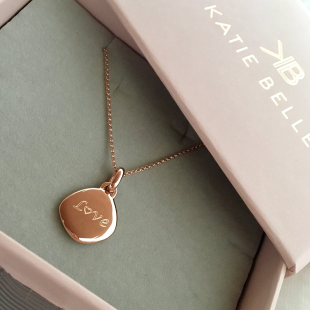 Lena 18ct Rose Gold Vermeil Pebble Pendant