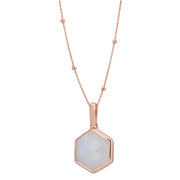 Rosina 18ct Rose Gold Vermeil Hexagon Gemstone Necklace with Beaded Chain – Rainbow Moonstone