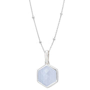 Rosina Sterling Silver Hexagon Gemstone Necklace with Beaded Chain – Blue Lace Agate