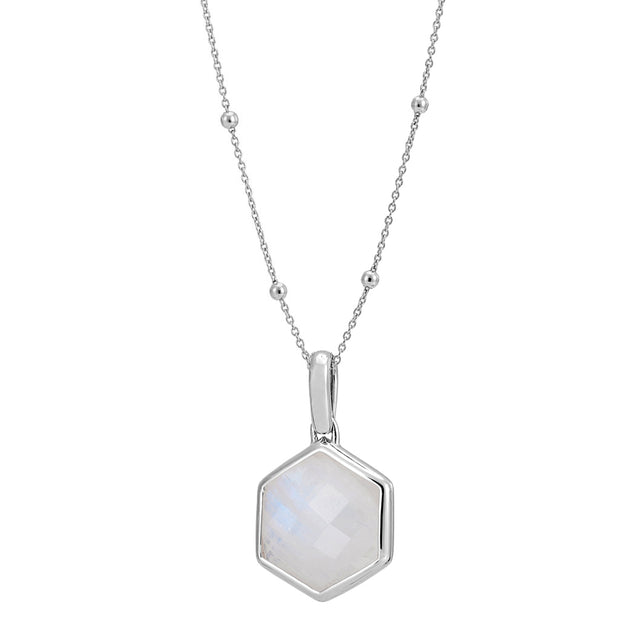 Rosina Sterling Silver Hexagon Gemstone Necklace with Beaded Chain – Rainbow Moonstone