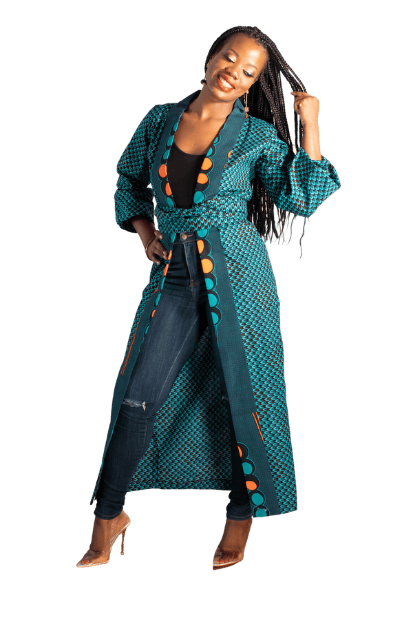 Peacock Ankara Kimono (Long) - LOVE DOT, Inc.