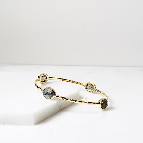 Labradorite Eleanor Bangle Bracelet - LOVE DOT, Inc.