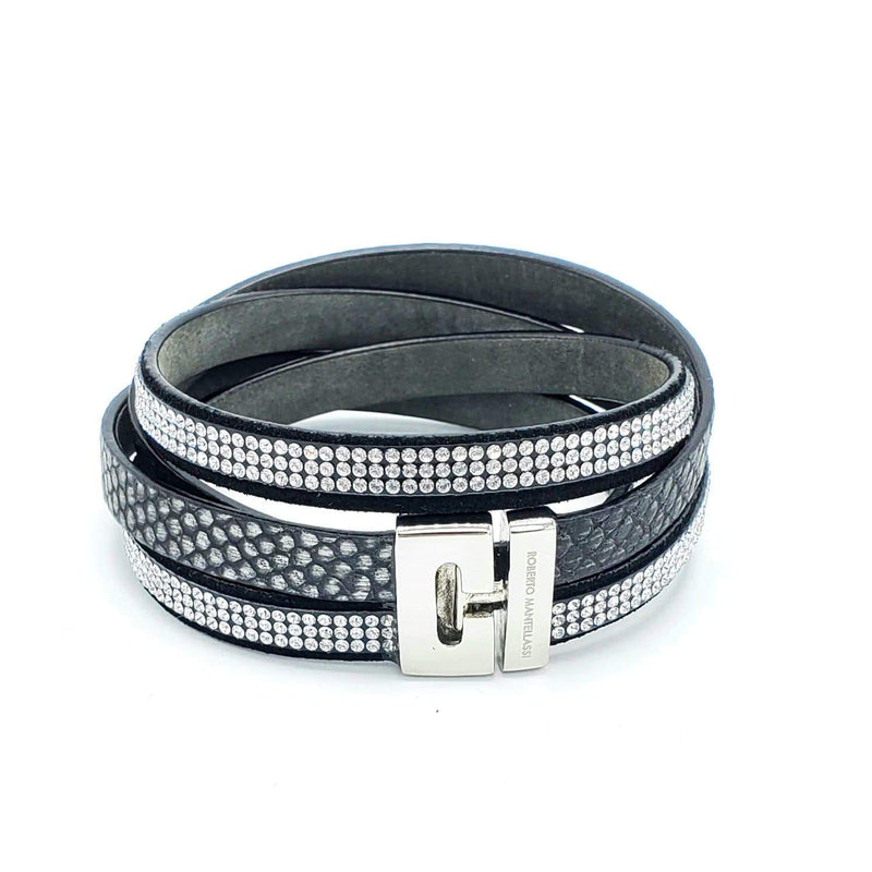 Python & Swarovski Bracelet (Black) - LOVE DOT, Inc.