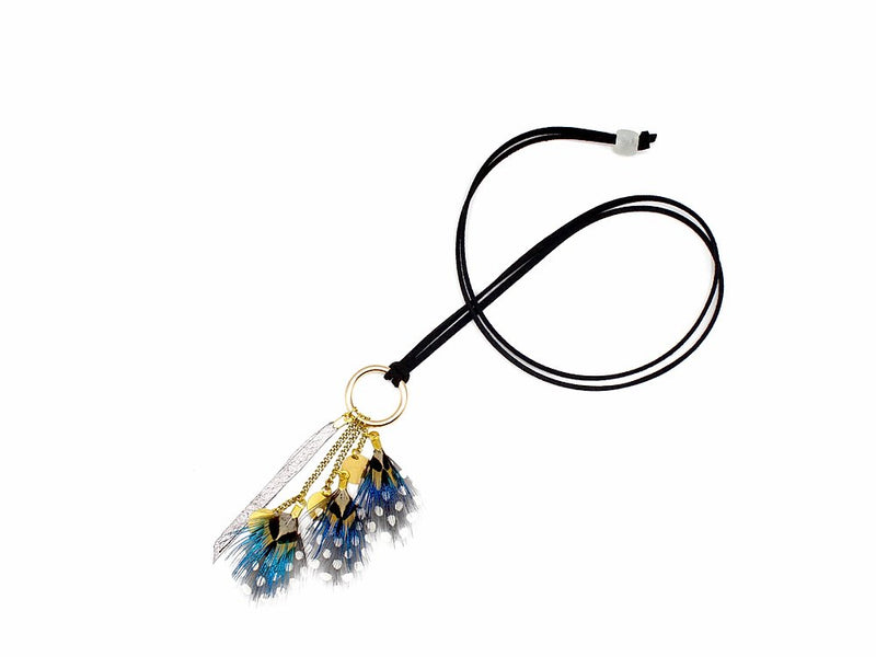Blue Mustard Feather Necklace - LOVE DOT, Inc.