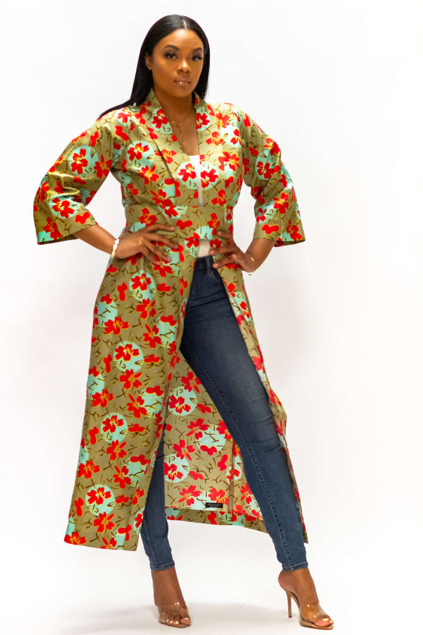 Joy & Luck Ankara Kimono (Long) - LOVE DOT, Inc.