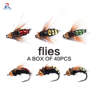 40PCS Fly Tying Fly Fishing Lure Dry Flies Hooks Feather