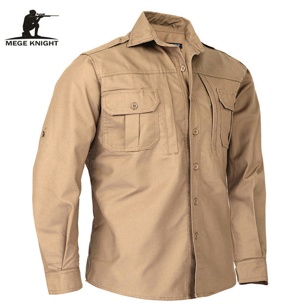 Men Shirt Long Sleeve Tactical Camouflage