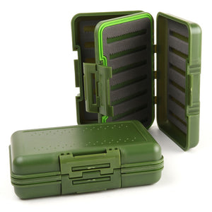 2 Pieces Waterproof Fly Fishing Box With Slit Foam Fishing Tackle Box With Swing Leaf Fly Box