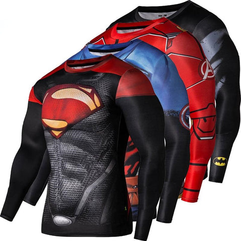 Fitness Compression  Crossfit Bodybuilding T shirt 3D Printed Superman Tops