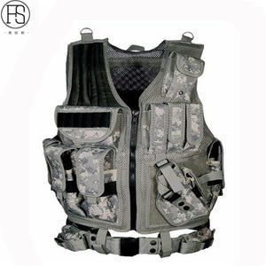 Adjustable Hunting Military Molle Tactical Vest With Pouches and Pistol Holster