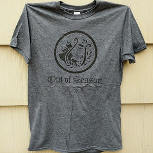 OUT OF SEASON Dark Heather Grey with Black - Logo T-Shirt