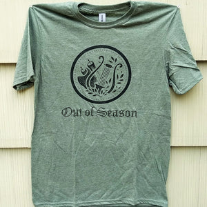 OUT OF SEASON Heather Army Green with Black - Logo T-Shirt
