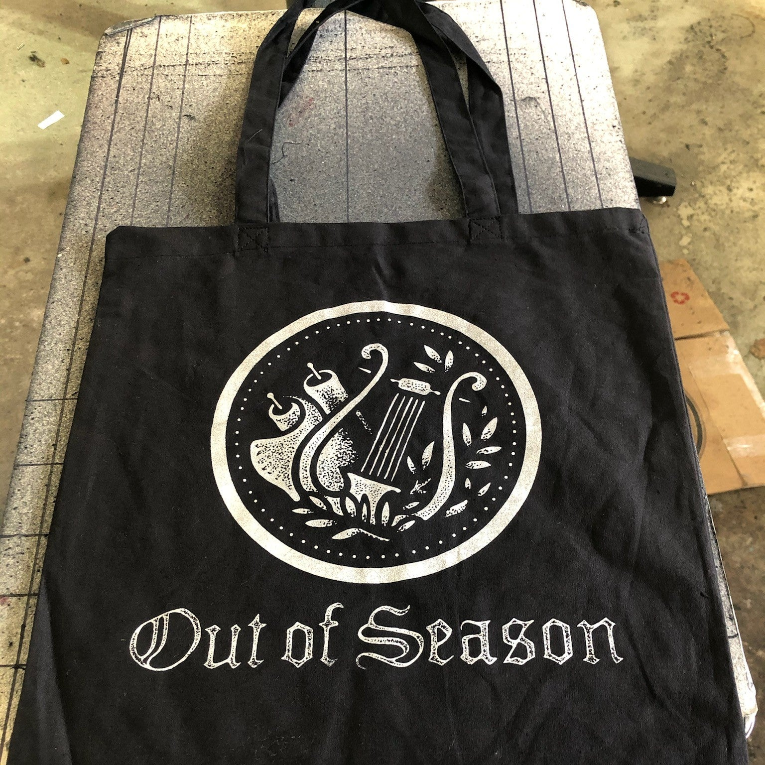 OUT OF SEASON Black w/ Silver Logo Tote Bag