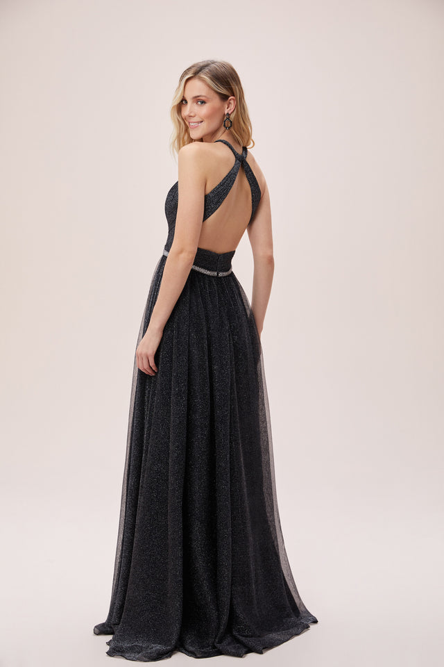Backless Halterneck Sparkling Dress