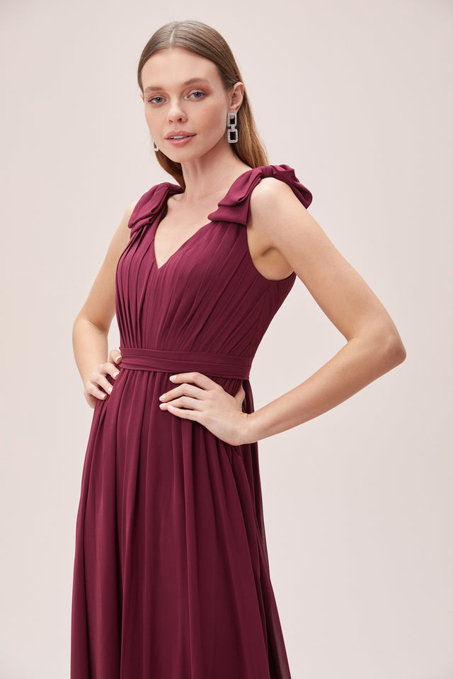 Bow Detail V-neck Dress