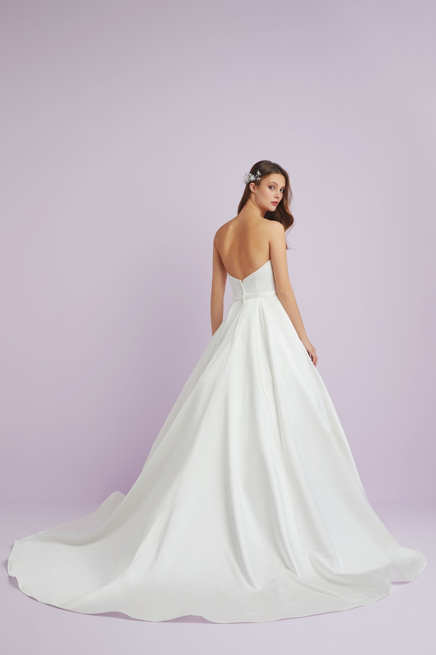 Strapless Satin A Line Wedding Dress with Sheer Panel