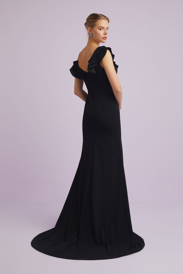 Beautiful One Shoulder Ruffle Formal Gown