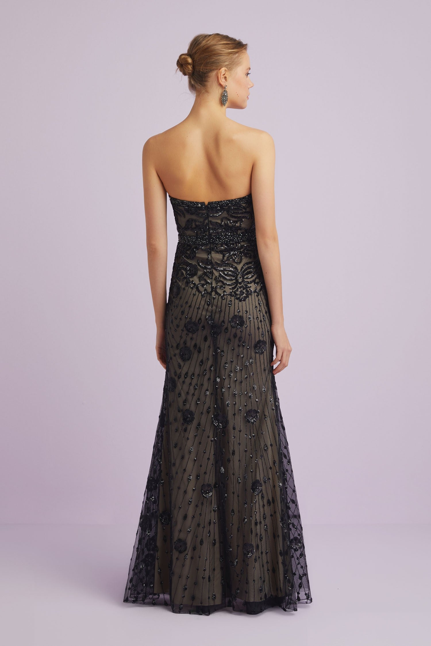 Black Sequin Pattern Formal Dress