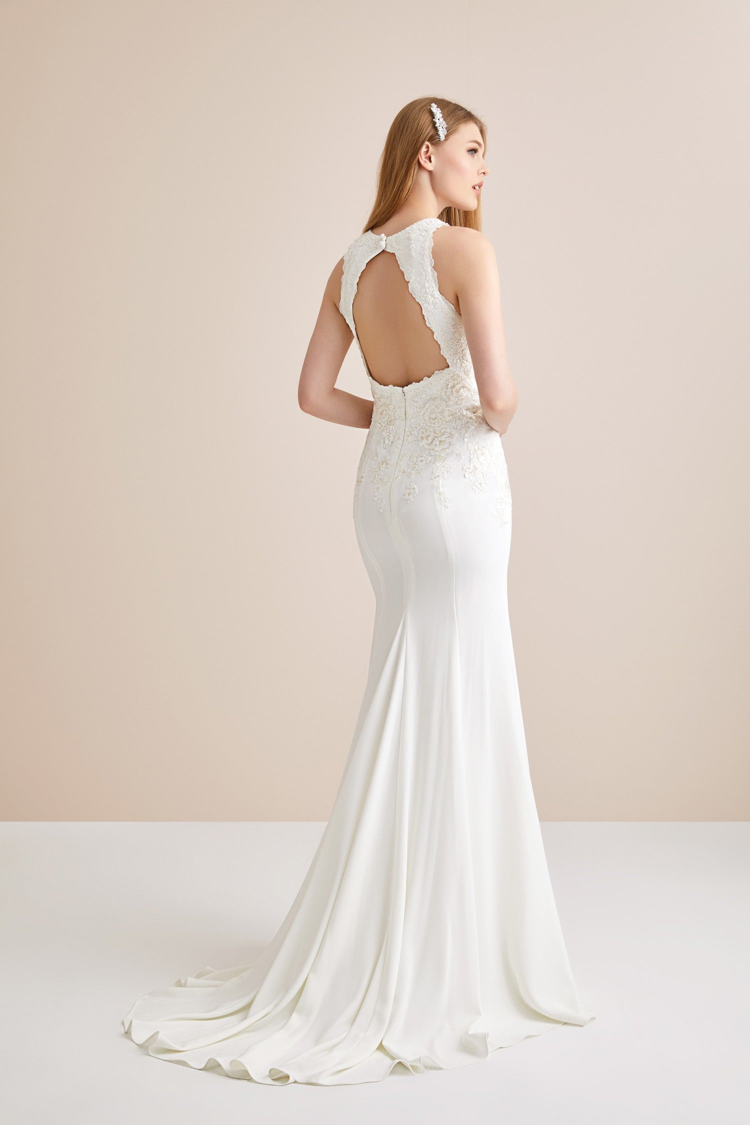 High Neck Crepe Open Back Wedding Dress