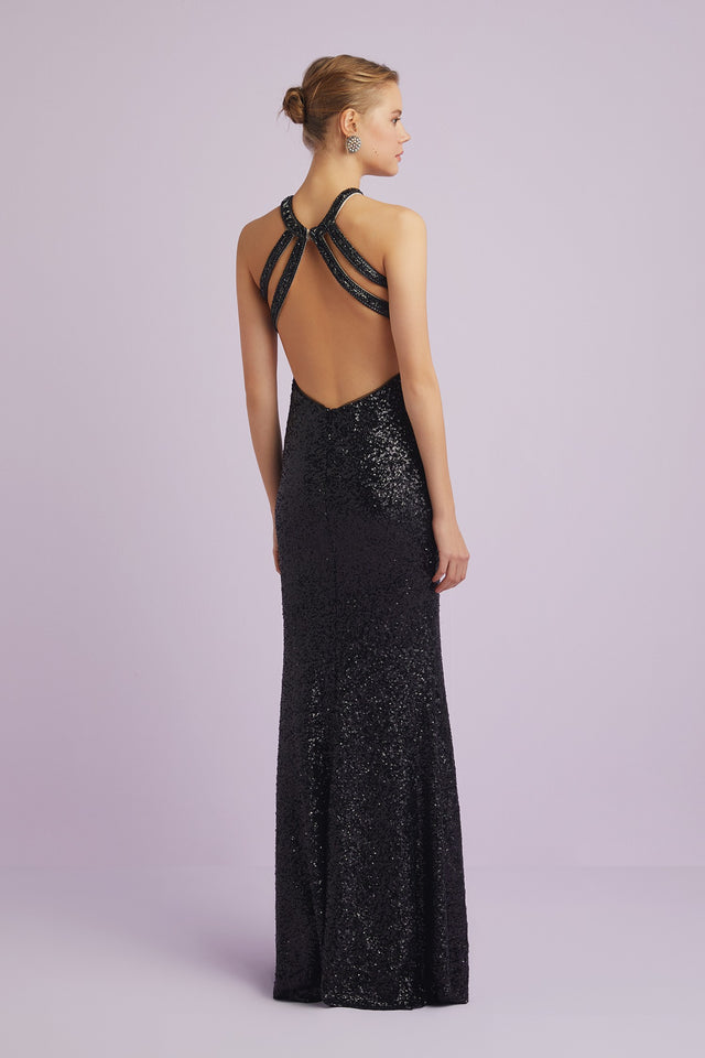 Sequinned Full Length Formal Dress