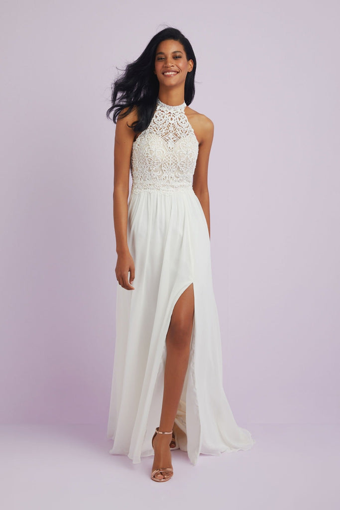 Halter Neck Chiffon Wedding Dress