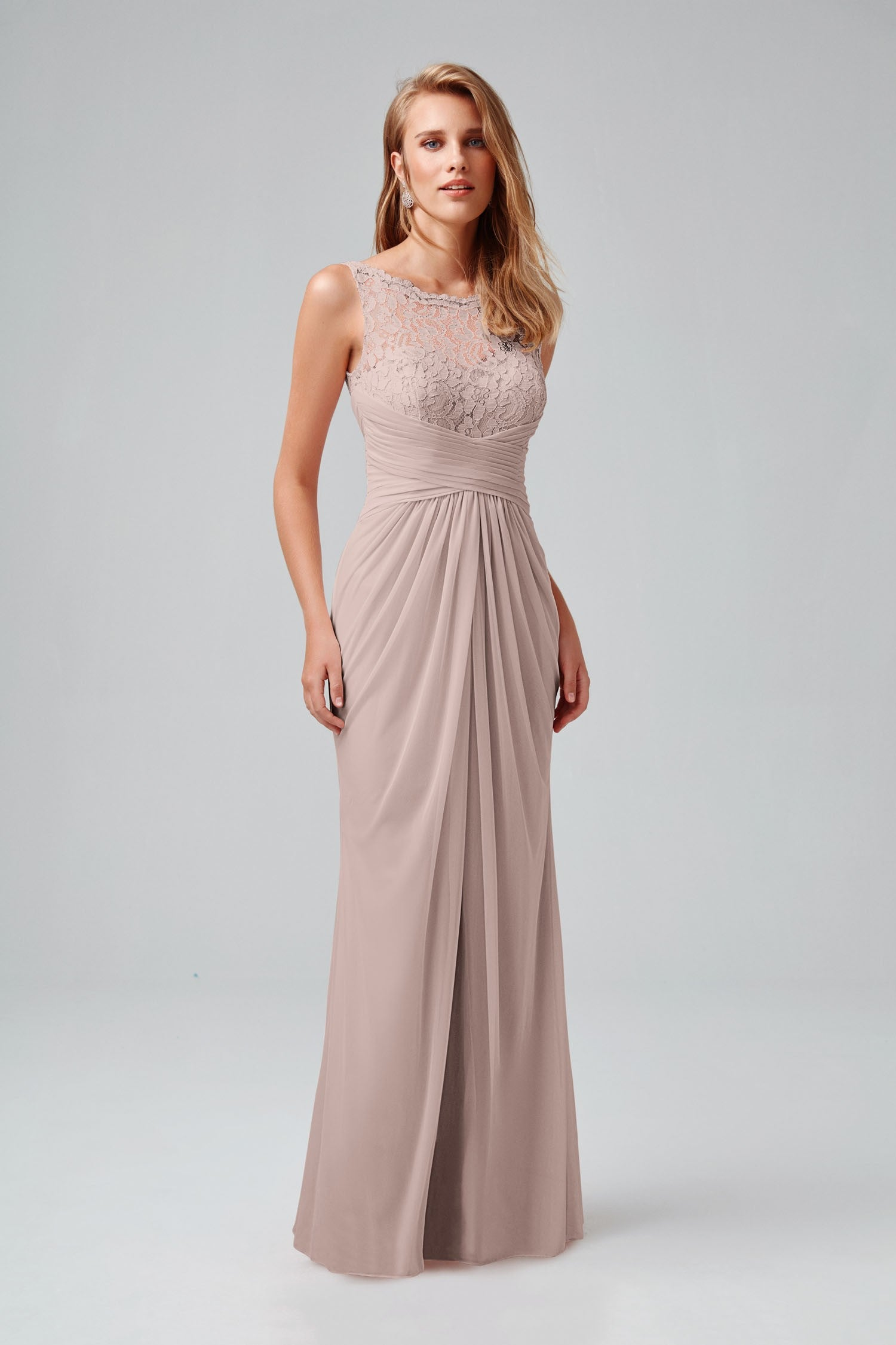 Sleeveless Long Mesh Dress with Corded Lace-F15749