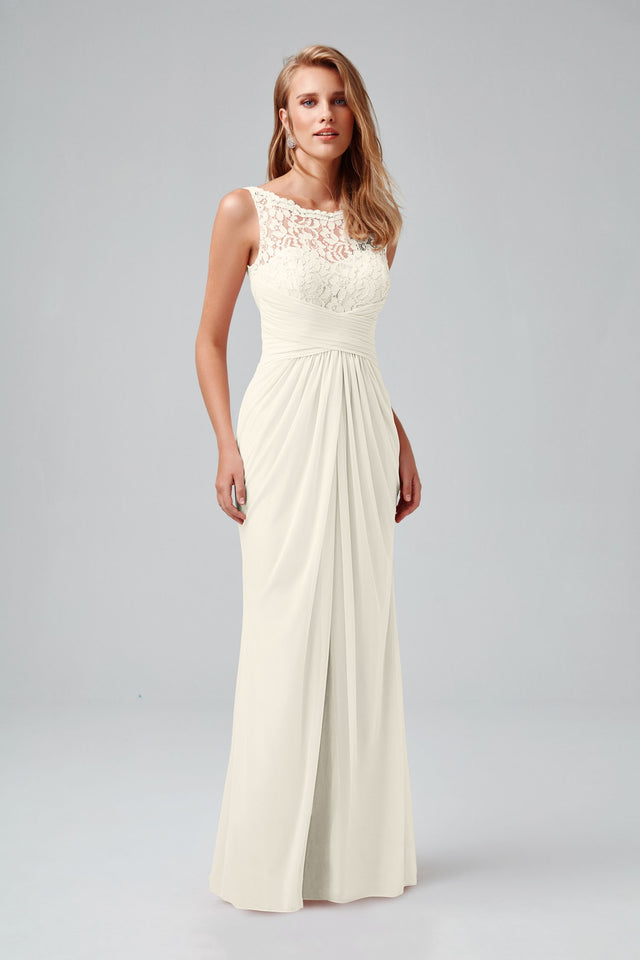 Sleeveless Long Mesh Dress with Corded Lace