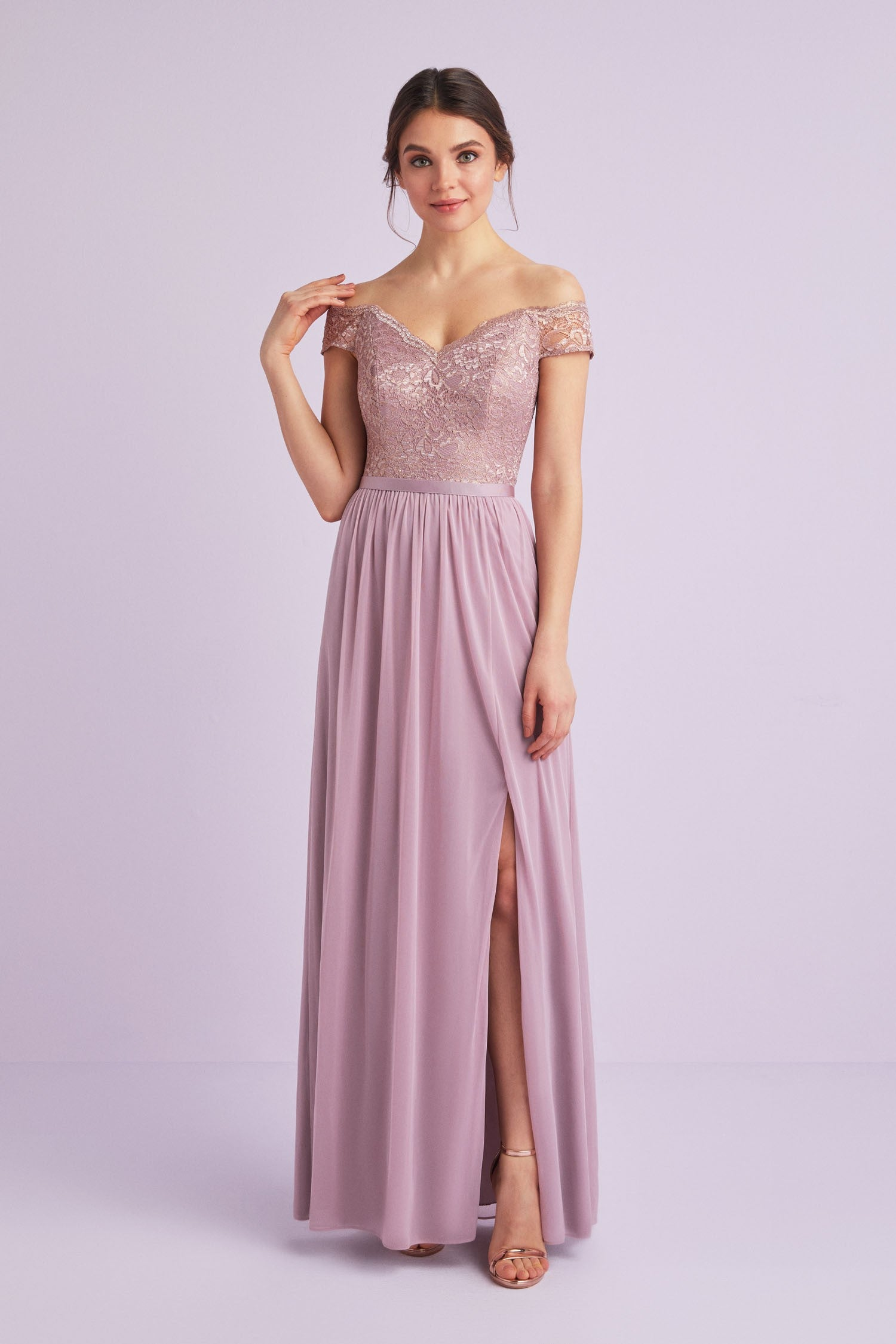 Off The Shoulder Metallic Lace Bridesmaid Dress F19950m