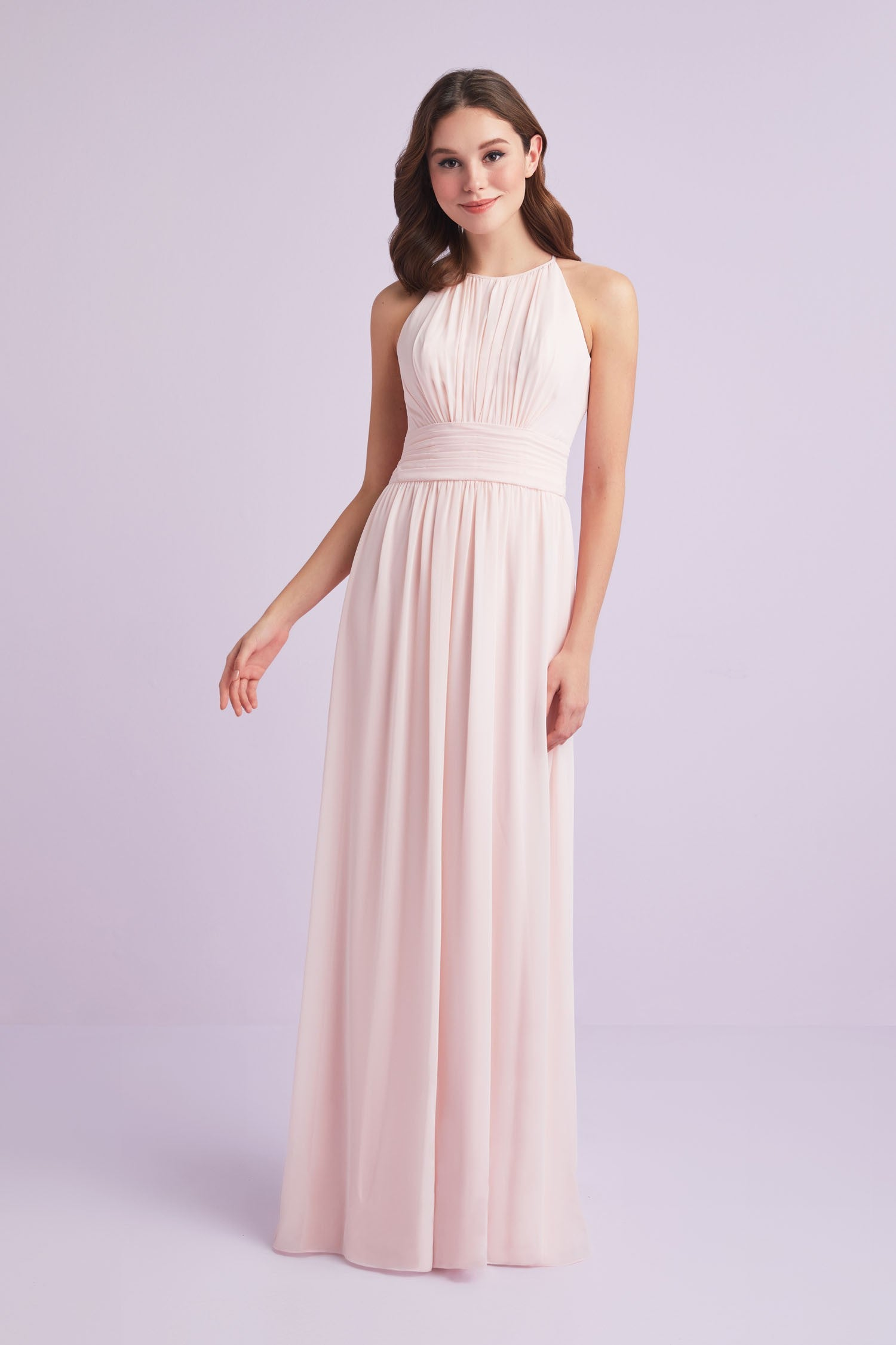e2aa5a5286f High-Neck Chiffon Bridesmaid Dress with Keyhole