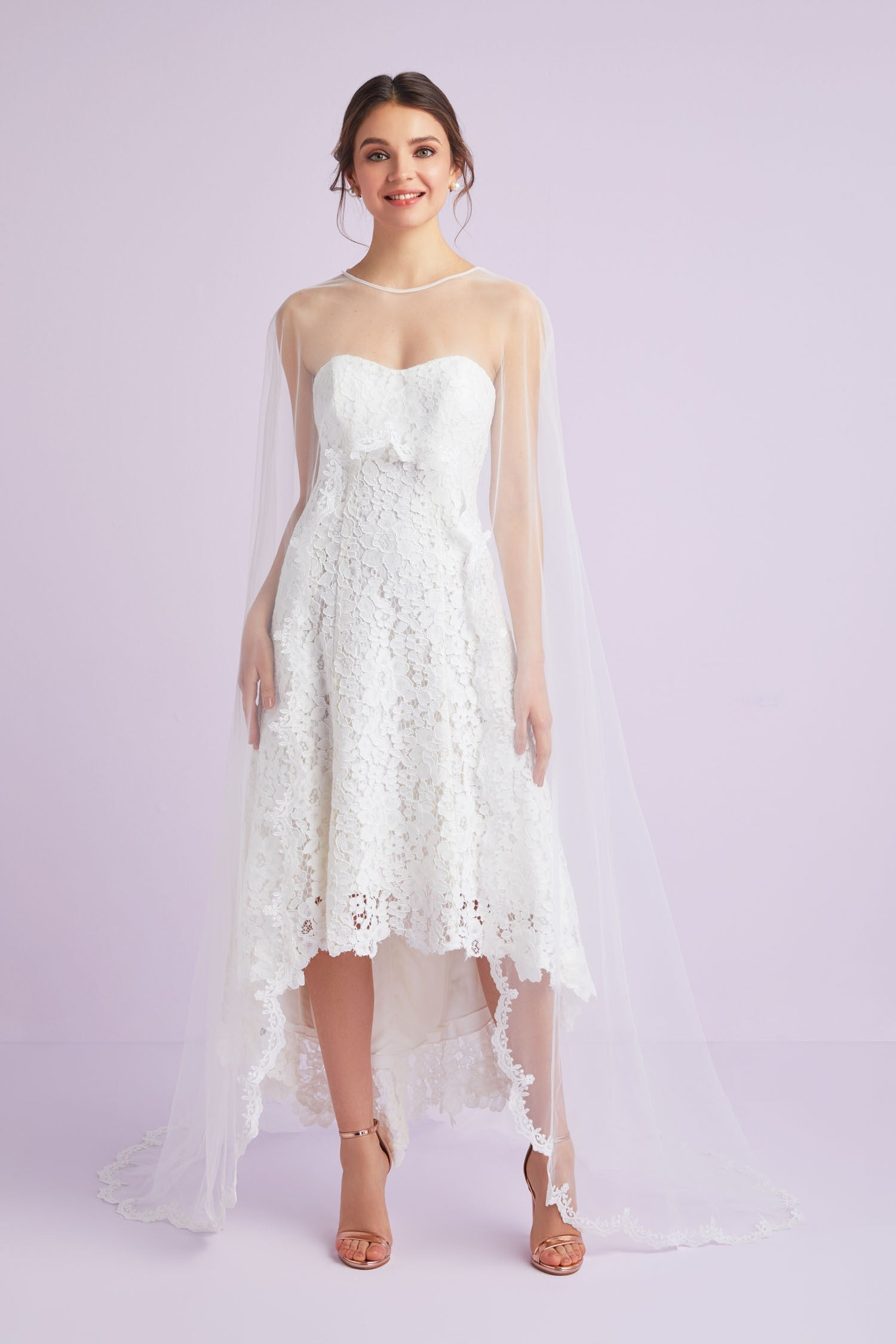 Lace-Trimmed High-Low Tulle Cape