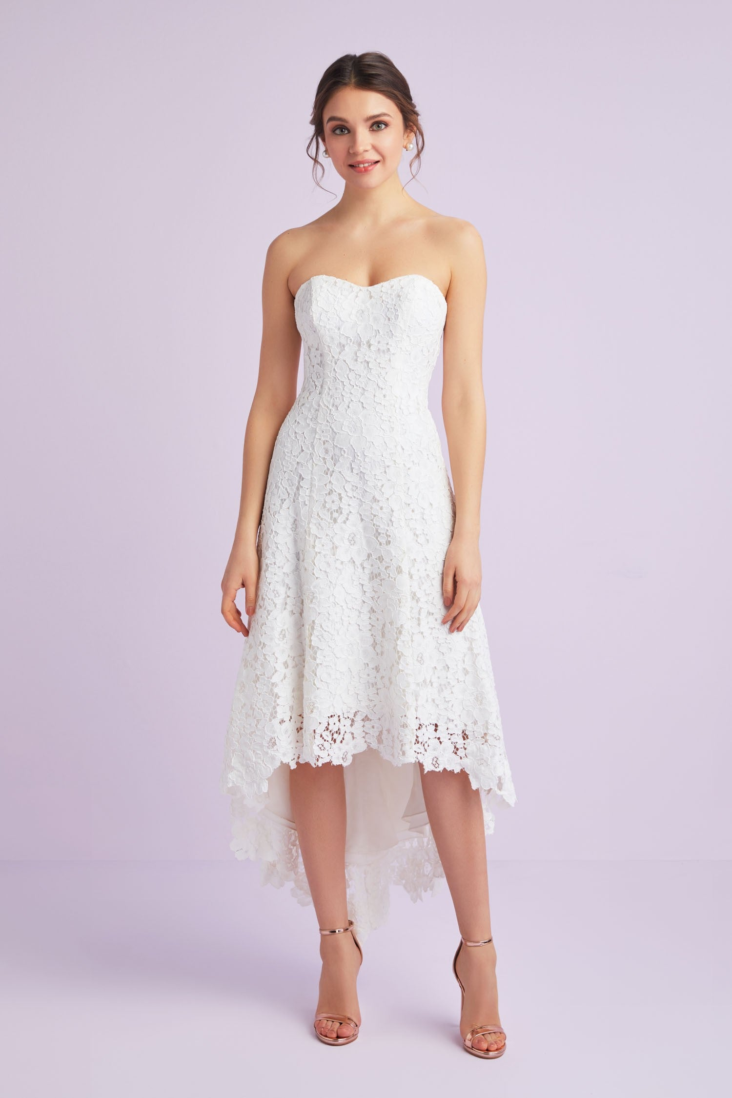 High-Low Tea-Length Corded Lace Wedding Dress