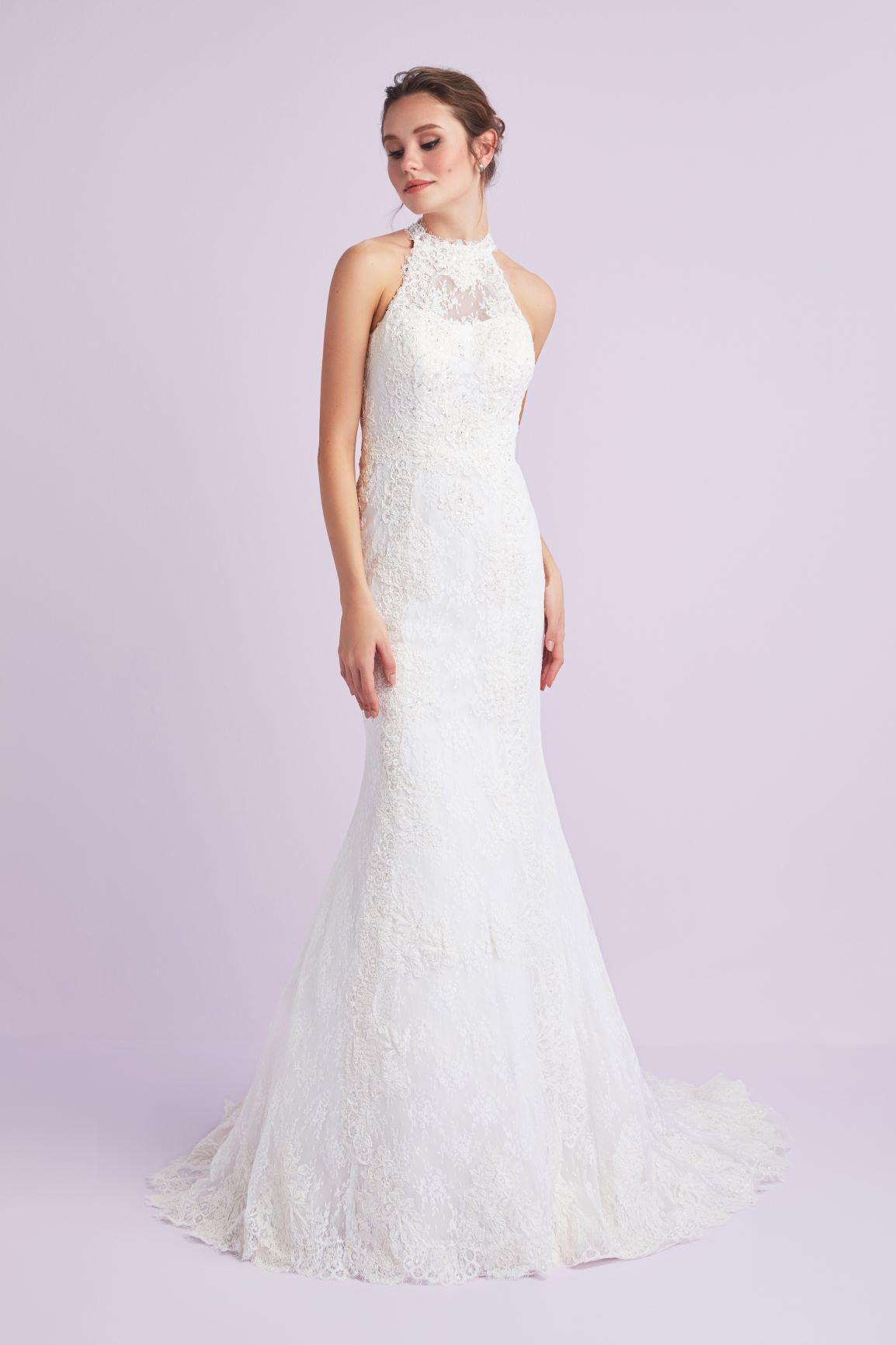 Lace mermaid illusion neckline wedding dress-4XLCWG666