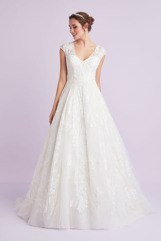 V-Neck Cap Sleeve Wedding Dress